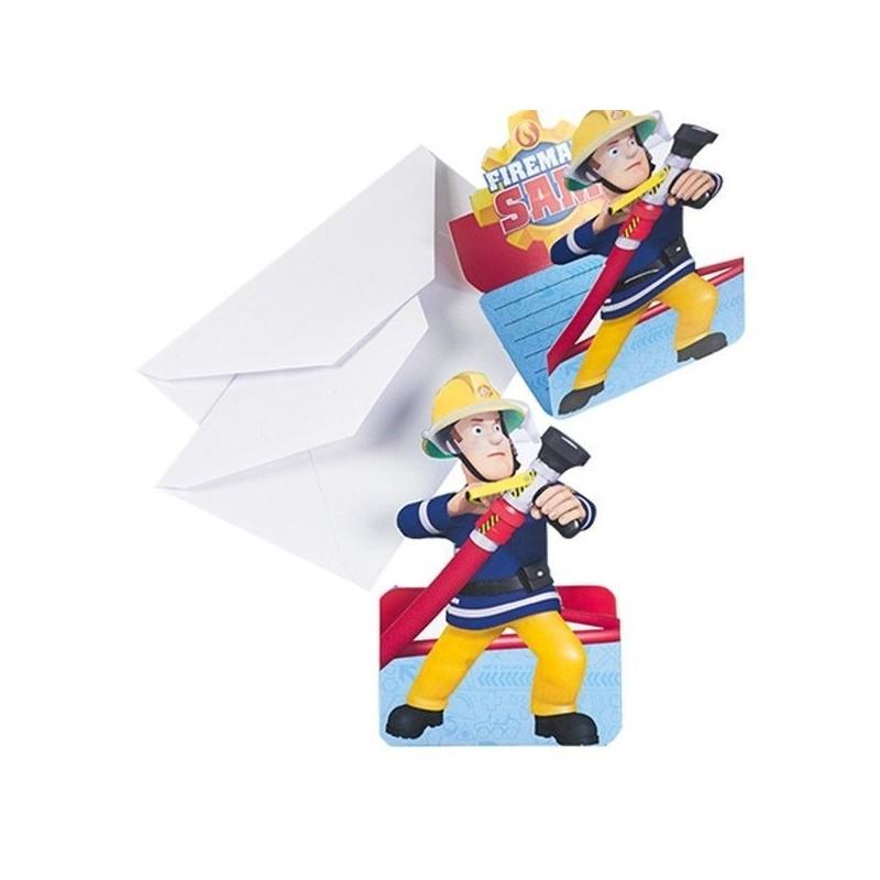 Invitations - Sam le pompier, anniversaire sam le pompier, décorations sam le pompier
