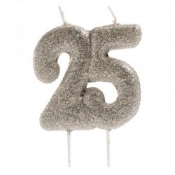 Bougie de fête argentée -25- , bougie 25 ans, bougie argentée, bougie grise, bougie 25