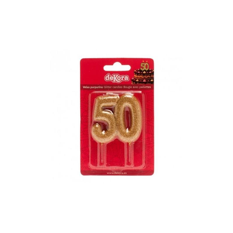 Bougie de fête dorée -50- 1pc