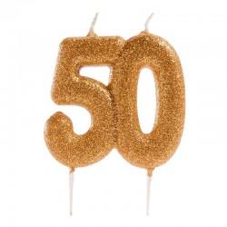 Bougie de fête dorée -50, bougie 50 ans, bougies dorée, bougie numéros 50, bougies or, 50 ans