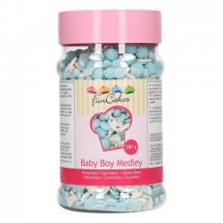 """Déco en sucre """"Medley baby boy"""", décoration comestible baby shower, décoration gâteau bébé, décorations bleu et blanc gâteau"""