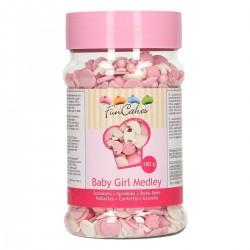 """Déco en sucre """"Medley baby girl"""", décoration comestible baby shower, décoration comestibles gâteau, décoration comestible rose e"""
