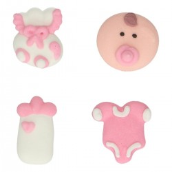 """Déco en sucre """"Baby shower, sucre décoratif bébé fille, sucre décoratif biberon rose, sucre décoratif boddy rose, sucre décorati"""