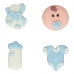 """Déco en sucre """"Baby shower, sucre décoratif bébé garçon, sucre décoratif biberon bleu, sucre décoratif boddy bleu, sucre décorat"""
