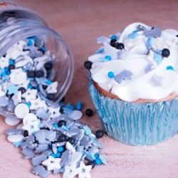 """Paillettes Medley """"Galaxy"""", paillette décorative galaxie, paillette comestible thème galaxi, paillettes comestible étoiles bleue"""