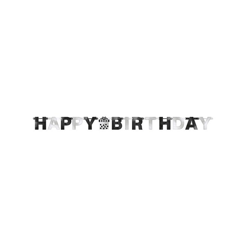 "Guirlande ""Happy Birthday"" noire et blanche, décoration anniversaire,décoration anniversaire noire et blanc, décoration annivers"