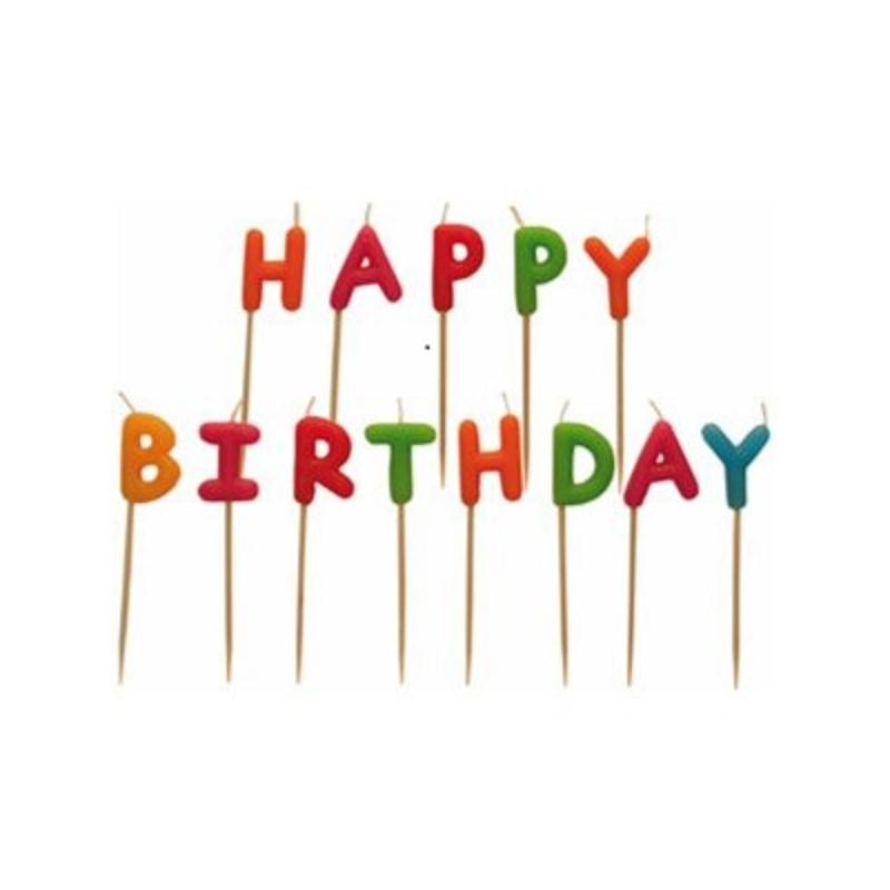 """Bougies multicolores """"Happy Birthday"""", bougies de couleurs, joyeux anniversaire en bougies"""