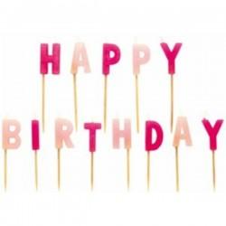 """Bougies multicolores """"Happy Birthday"""", bougies de couleurs rose, joyeux anniversaire en bougies rose"""