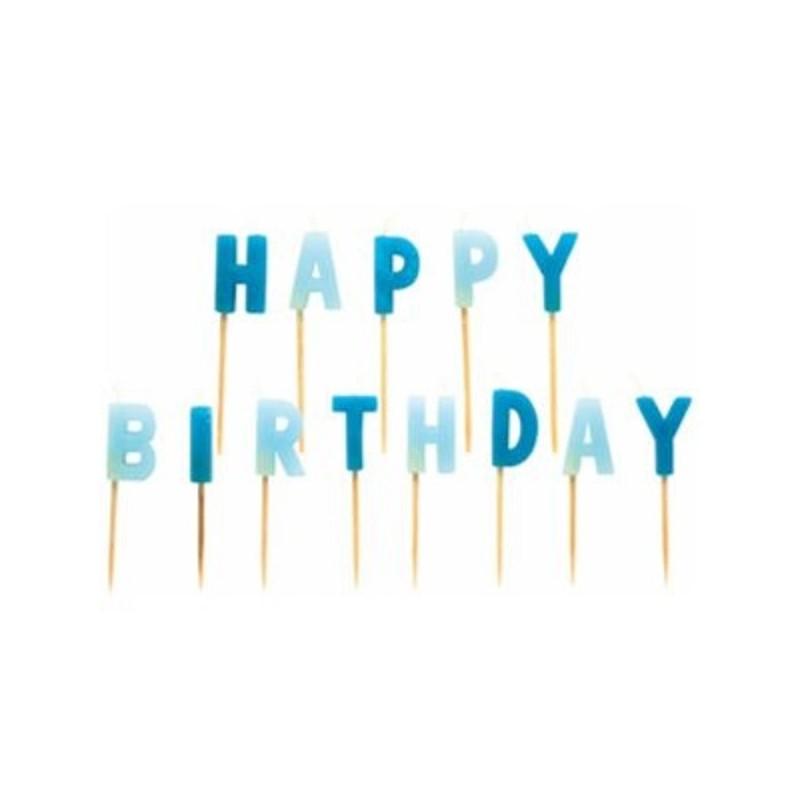"""Bougies multicolores """"Happy Birthday"""", bougies de couleurs bleu, joyeux anniversaire en bougies bleu"""