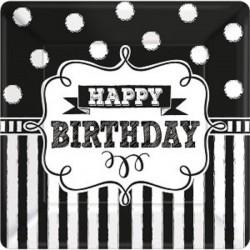 "assiettes ""Happy Birthday"" noire et blanche, décoration anniversaire,décoration anniversaire noire et blanc, décoration annivers"