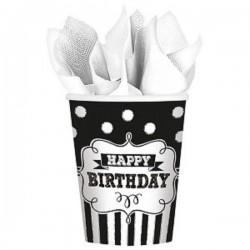"gobelet ""Happy Birthday"" noire et blanche, décoration anniversaire,décoration anniversaire noire et blanc, décoration anniversai"