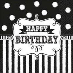 """serviettes """"Happy Birthday"""" noire et blanche, décoration anniversaire,décoration anniversaire noire et blanc, décoration anniver"""