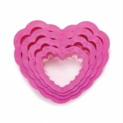 Lot emporte-pièces coeurs cannelées, emporte-pièce coeurs cannelés, emporte-pièce plastique coeur cannelé