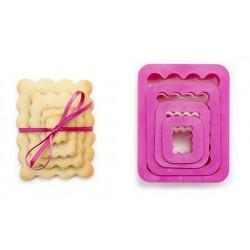 Emporte-pièces rectangulaires cannelés,Lot emporte-pièces forme petits beurre cannelées, emporte-pièce petits beurre cannelés, e