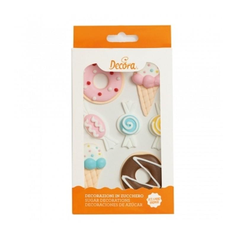 """Décoration en sucre """"bonbons"""", sucre décoratifs bonbons, sucre décoratifs été, sucre decoratif comestible donuts, sucre décorati"""