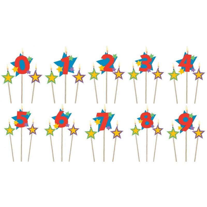 Bougies numérotées étoiles