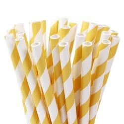 Pailles Cake Pops - Stripes Soft Yellow - pk/20