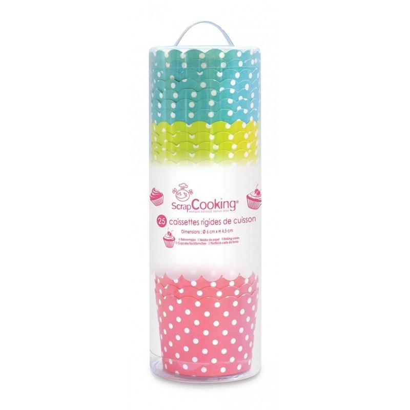 """Caissettes de cuisson """"pois"""", caissettes cupcake à pois, caissette brioche à pois, caissettes cupcake bleue et verte"""