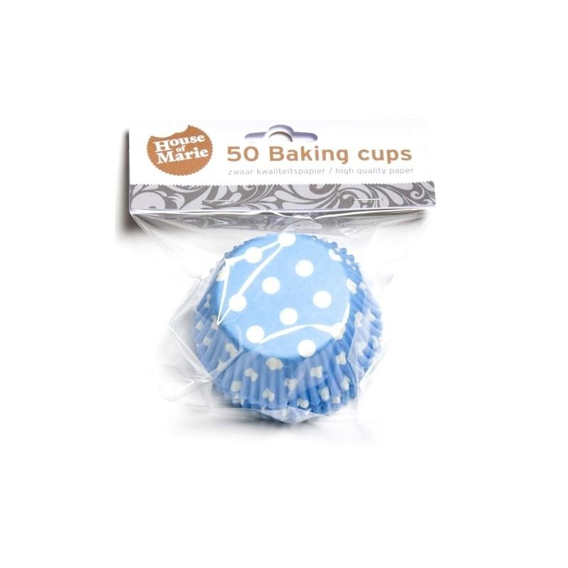 Baking cups Polkadot Blue - pk/50