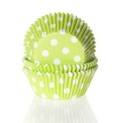 Baking cups Polkadot Lime Green - pk/50