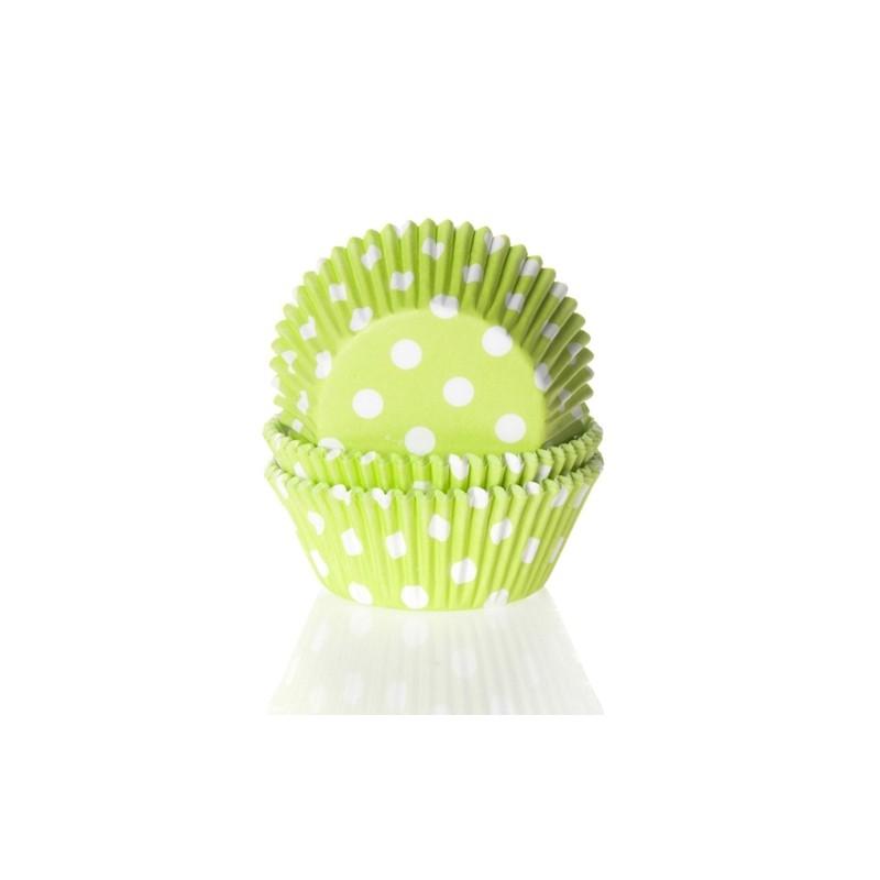 Baking cups Polkadot Lime Green - pk/50