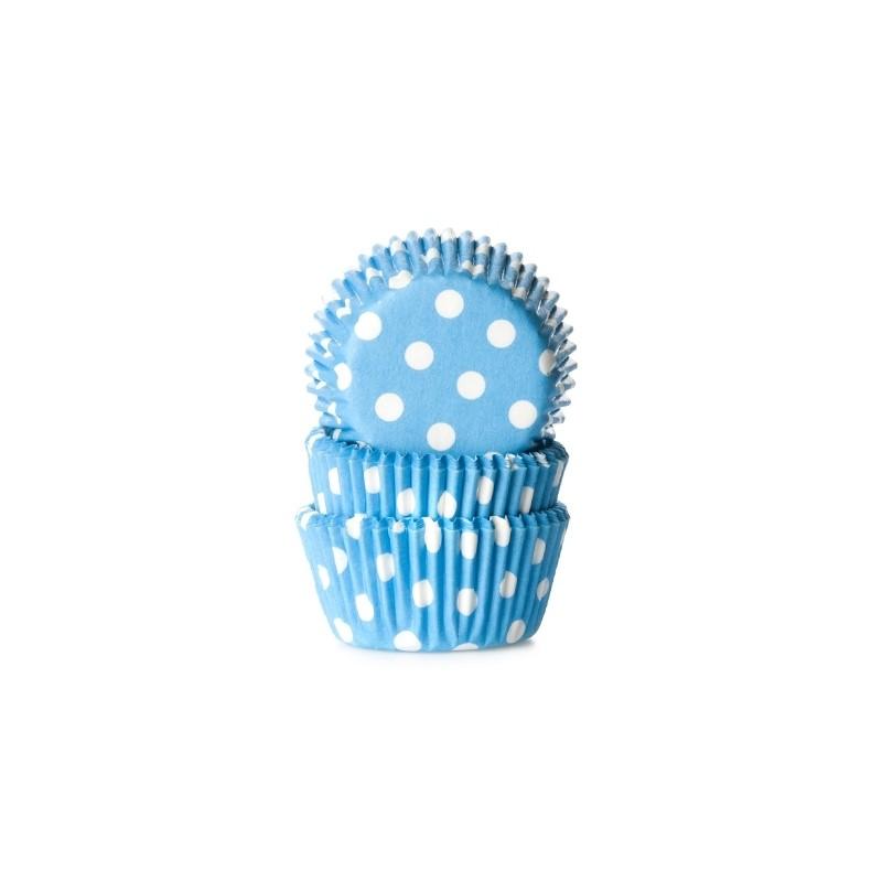 """Caissettes à mini cupcakes """"Bleue à point blanc"""" - pk/60"""