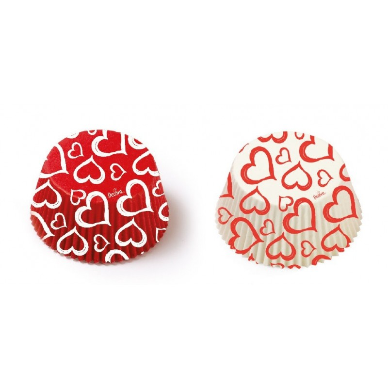 """Caissettes """"coeur rouge"""", caissettes coeur blanc cupcake, mini caissettes coeur rouge et blanc, mini caissette cupcake coeur"""