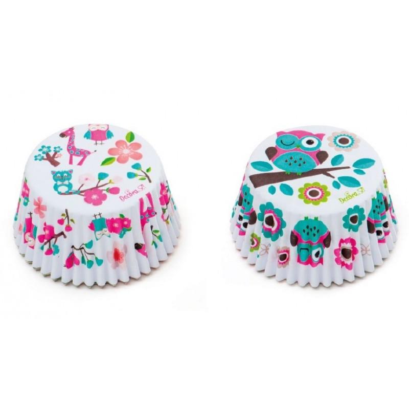 """Caissettes """"hiboux"""", caissettes hiboux cupcake, mini caissettes hiboux, mini caissette cupcake hiboux"""