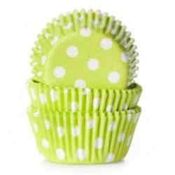 """Caissettes à mini cupcakes """"Vert citron à point blanc"""" - pk/60"""