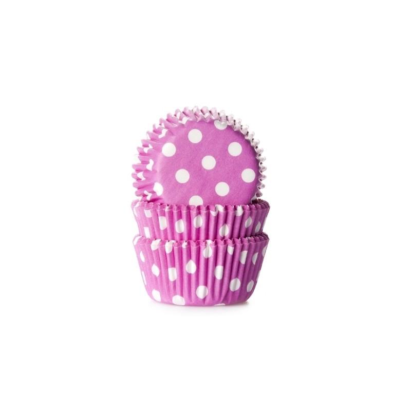 """Caissettes à mini cupcakes """"Rose à points blanc"""" - pk/60"""