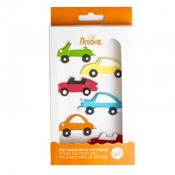 """Décoration en sucre """"Voiture"""", sucre décoratif voiture, sucre voiture rouge,sucre décoratifs voiture bleu, anniversaire voiture,"""