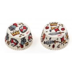 "Caissettes ""Chevaliers"", cupcakes chevalier, caissettes papier chevalier, décoration chevalier, chevalier, chevalier pâtisserie"