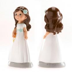 Figurine première communion, figurine petit fille brune, figurine fille avec bible, figurine fille noeud bleu