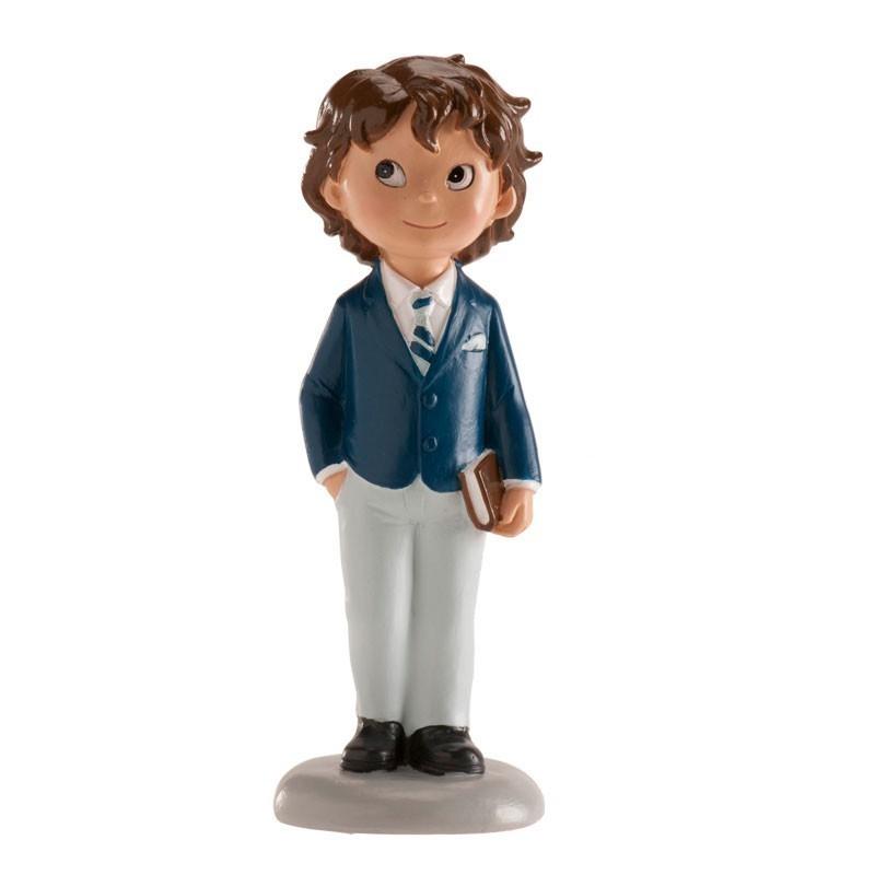 Figurine première communion, figurine petit garçon brun, figurine garçon brun, figurine garçon avec bible