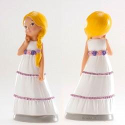 Figurine première communion, figurine petite fille blonde, figurine fille blonde, figurine fille tresse