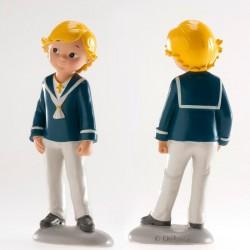 Figurine première communion, figurine petiti gar4on blond, figurine garçon blond habits bleu