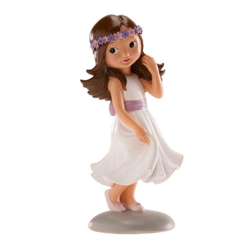 Figurine première communion, figuine petite fille brune bandeau, figurine fille brune robe à fleurs, figurine petite fille brune