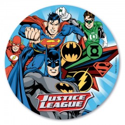 "Disque en azyme ""Justice League"", décoration gâteau justice league, décoration justice league, disque justice league"