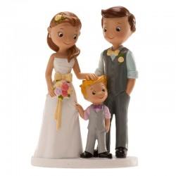 """Figurine Mariage """"couple avec garçon"""", figurine mariage, figurine mariage couple et enfant, figurien mariage couple et petit gar"""