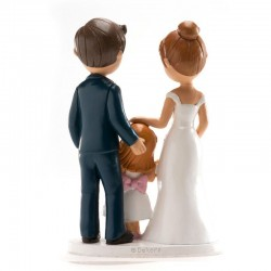 """Figurine Mariage """"couple avec fille"""", figurine mariage, figurine mariage couple et enfant, figurien mariage couple et petite fil"""