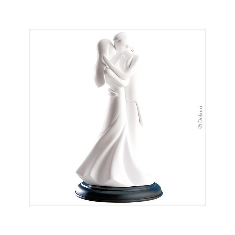 """Figurine mariage blanche """"Premier baiser"""", figurine mariage blanche, figurine mariés qui s'embrassent, figurine blanche de maria"""