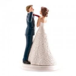 """Figurine mariage """"Mains en l'air"""", figurine de mariage rigolotte, figurine mariage mariée qui tire la cravate"""