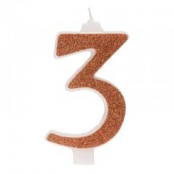 Große, helle goldene Kerze Nummer 3 drei
