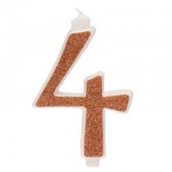 Große, helle goldene Kerze Nummer 4 vier