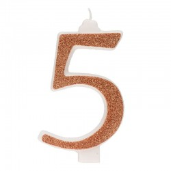 Große, helle goldene Kerze Nummer 5 fünf
