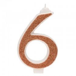 Große, helle goldene Kerze Nummer 6 sechs