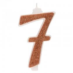 Große, helle goldene Kerze Nummer 7 sieben
