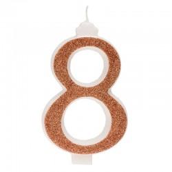 Große, helle goldene Kerze Nummer 8 acht