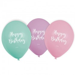 "Ballons ""Happy Birthday"" pastel, ballons vert-violet-rose,ballons de fête, ballons d'anniversaire, ballons patels, ballons joyeu"