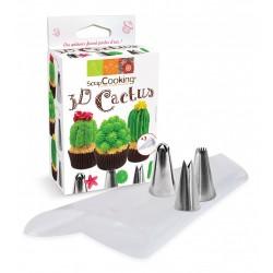 """Kit """"3D Cactus"""", douille thème desert, douille cactus, kit douilles cactus, cactus facile, pâtisserie cactus"""